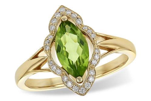 14 Kt. Yellow Gold, Peridot and Diamond Ring