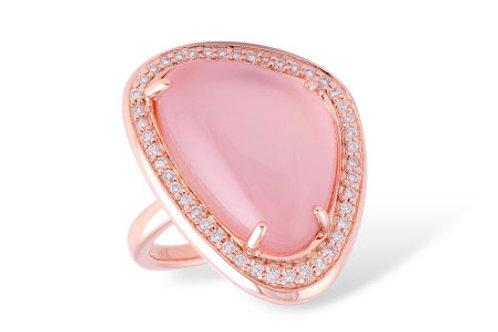 14 Kt. Rose Gold, Rose Quartz & Diamond Ring