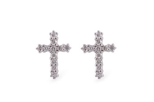 Petite 14 Kt. White Gold and Diamond Cross Earrings