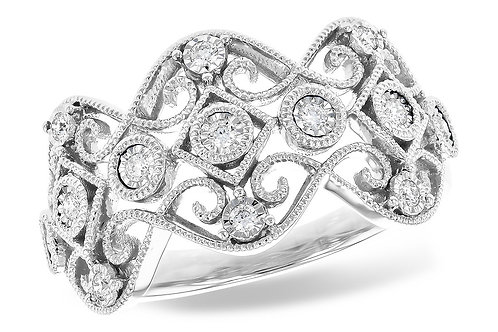 14 Kt. White Gold and Diamond Fashion Band