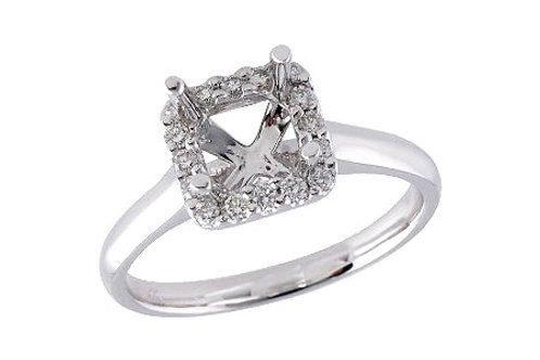 14 Kt. White Gold & Diamond Princess Cut Halo Mounting