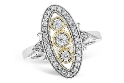 14 Kt. Two-Tone Gold and Diamond Vintage Inspired Ring