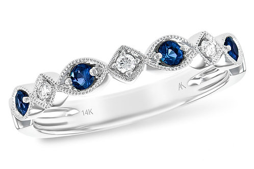 14 Kt. White Gold, Blue Sapphire and Diamond Band