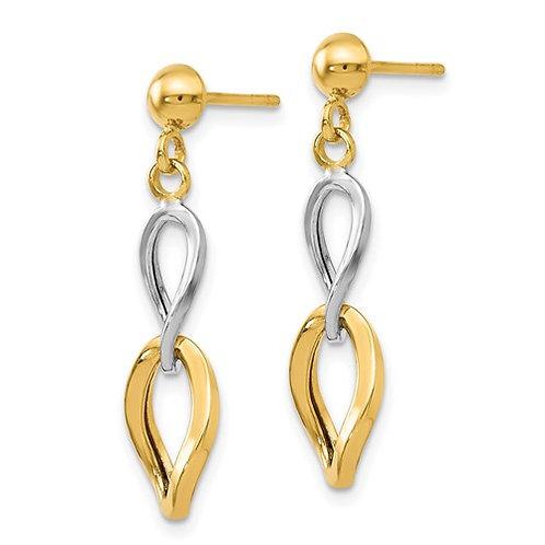 14 Kt. Two-Tone Gold Twisted Dangle Earrings