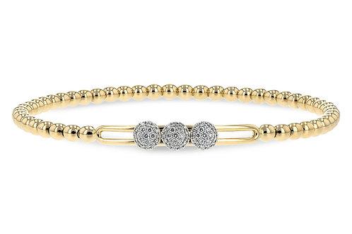 14 Kt. Yellow Gold and Diamond Slide Bracelet