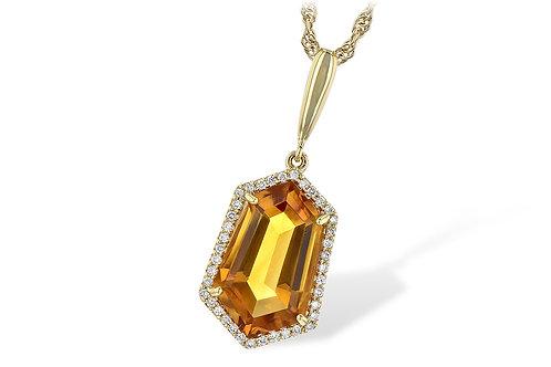 14 Kt. Yellow Gold, Citrine & Diamond Halo Necklace