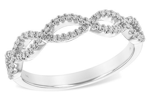 14 Kt. White Gold and Diamond Infinity Ring
