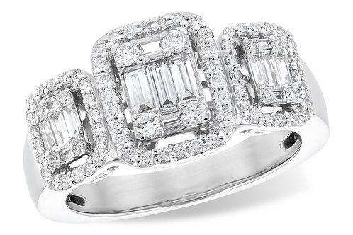 14 Kt. White Gold & Diamond 3-Stone Cluster Ring