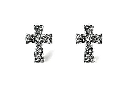14 Kt. White Gold and Diamond Cross Earrings