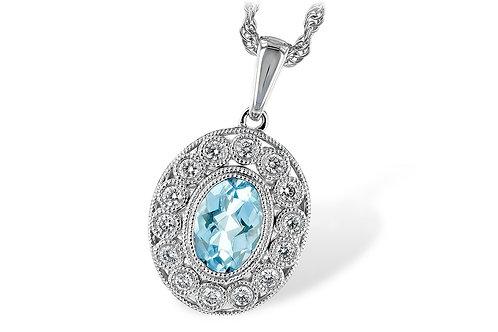 14 Kt. White Gold, Aquamarine & Diamond Necklace