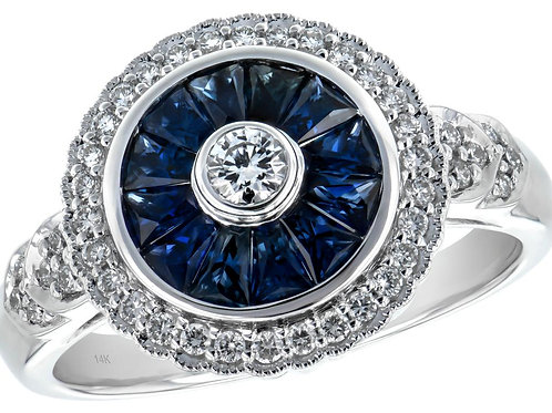 Vintage Inspired Blue Sapphire & Diamond Ring
