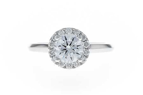 14 Kt. White Gold & Diamond Round Halo Setting