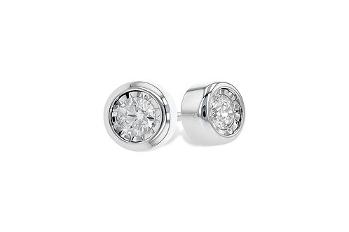 14 Kt. White Gold & Diamond Bezel Set Stud Earrings