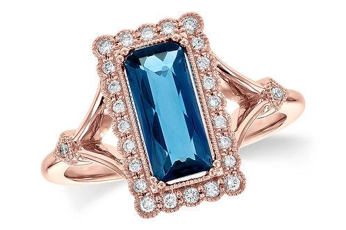 14 Kt. Rose Gold, Blue Topaz & Diamond Ring