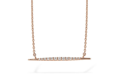 14 Kt. Rose Gold & Diamond Bar Necklace
