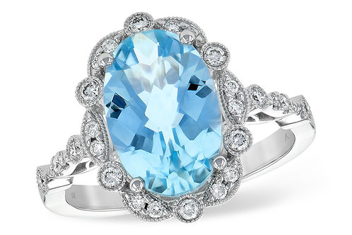14 Kt. White Gold, Aquamarine & Diamond Ring