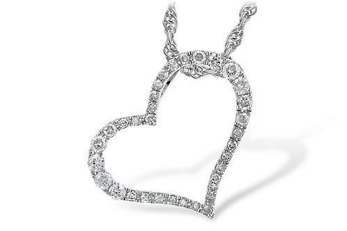 14 Kt. White Gold & Diamond Heart Necklace