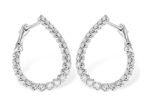 14 Kt. White Gold & Diamond In-Out Offset Hoop Earrings