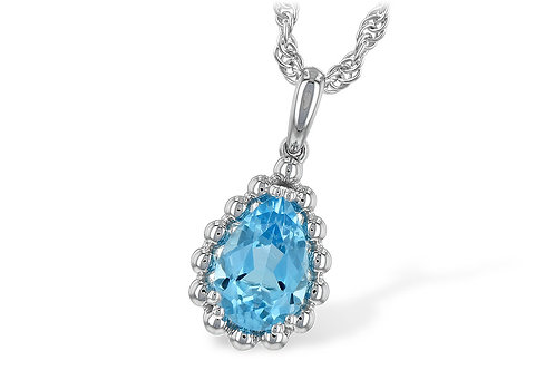 14 Kt. White Gold and Blue Topaz Necklace