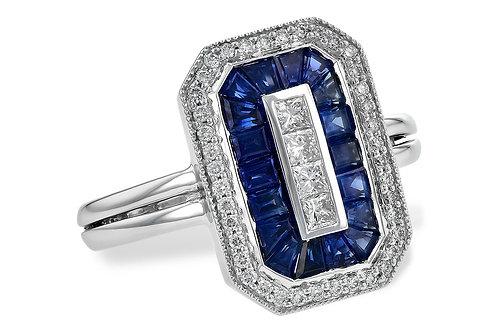 Art Deco Inspired Blue Sapphire & Diamond Ring