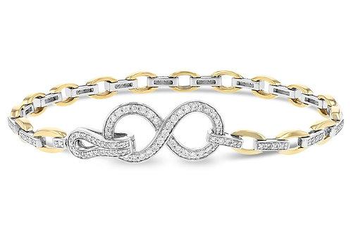 14 Kt. Two-Tone Gold and Diamond Infinity Bracelet