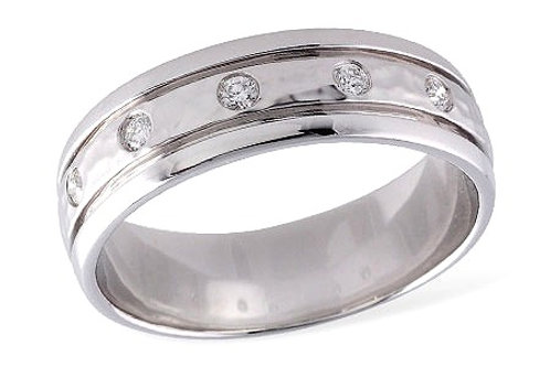 14 Kt. White Gold and Diamond Band