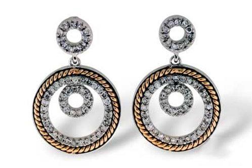 14 Kt. Two-Tone & Diamond Circle Earrings
