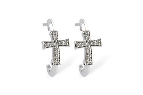 14 Kt. White Gold & Diamond Cross Earrings