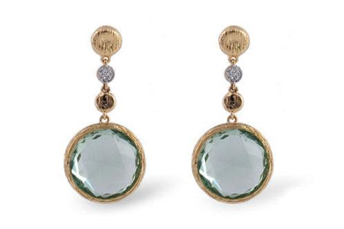 14 Kt. Yellow Gold, Green Amethyst & Diamond Earrings