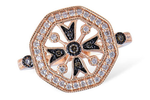 14 Kt. Rose Gold and Diamond Fashion Ring