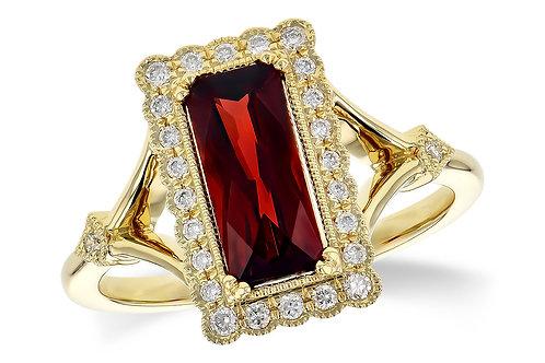 14 Kt. Yellow Gold, Garnet and Diamond Ring