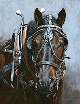 Painting of driving draft horse