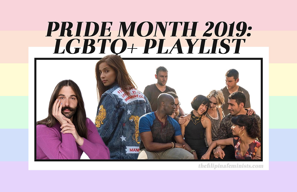 Pride Month 2019: LGBTQ+ Playlist cover featuring Jonathan van Ness, Jasmine Curtis, and the cast of Sense8.