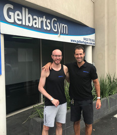 Working out at Gelbarts Gym