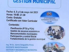 """UMSS invita a participar del curso Curso Virtual """"Gestión Municipal""""."""