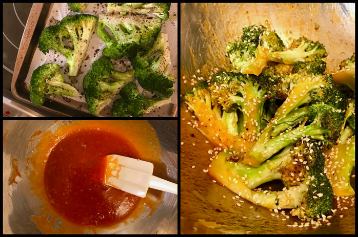 Roasted Broccoli with Sriracha, Honey, Sesame Glaze