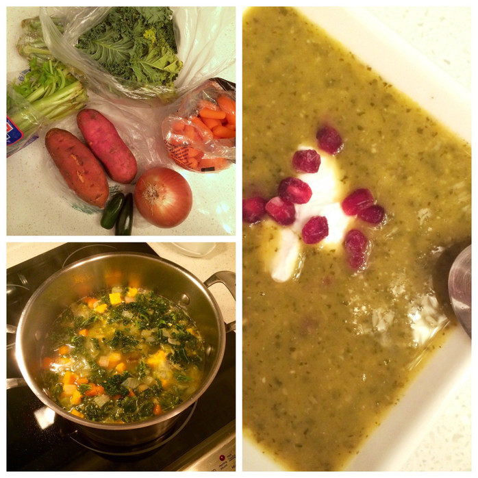 Spicy Sweet Potato, Kale & Chickpea Soup