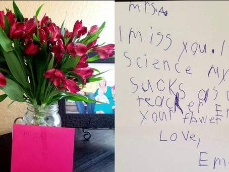 Hilarious: Cypress 2nd grader sends teacher flowers, amusing note