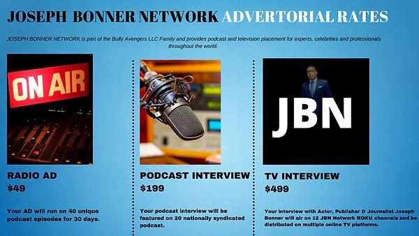Joseph Bonner Network Advertorial Rates.