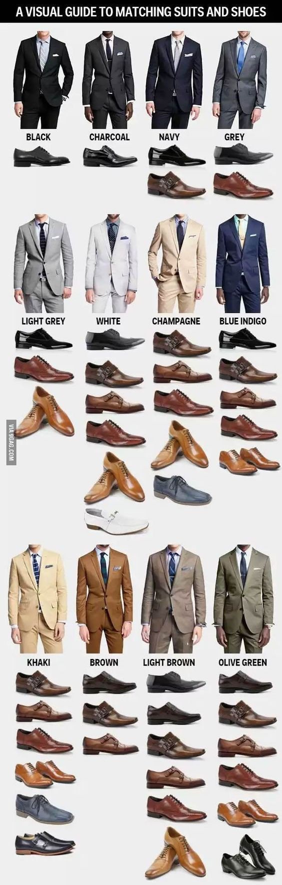 Visual guide to matching suits and shoes
