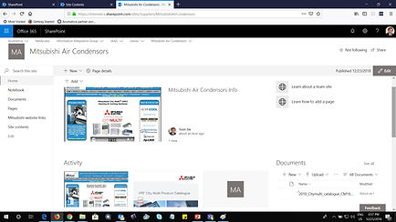 Sharepoint Online site for Mitsubishi Ai