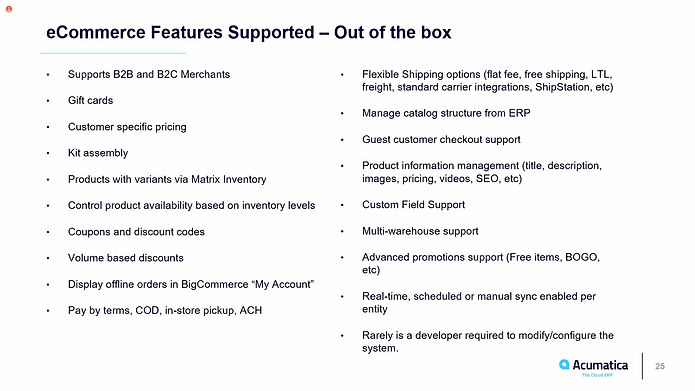 ECommerce features supported out of the