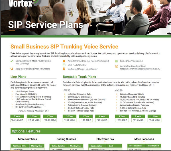 SIP NexVortex plans and pricing web page