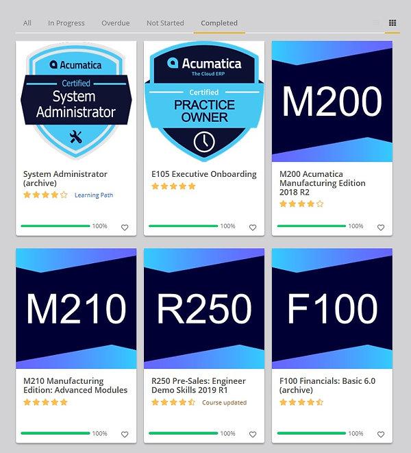 Acumatica Training Certificates sys admi