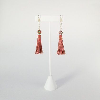 Short Painted Earrings with Bead