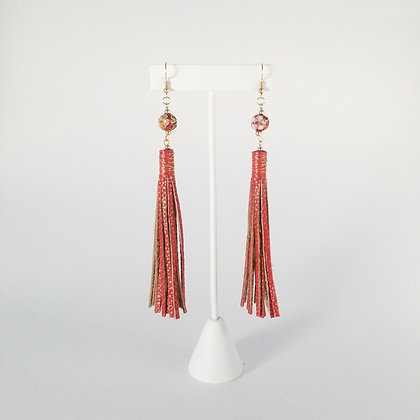 Long Painted Earrings with Bead