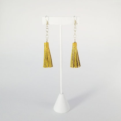 Short Painted Earrings with Chain