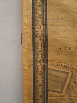 Londonkarte 1746, 2 x 4 m, Gottfried Wilhelm Leibniz Bibliothek. Montage an der Wand von verso.