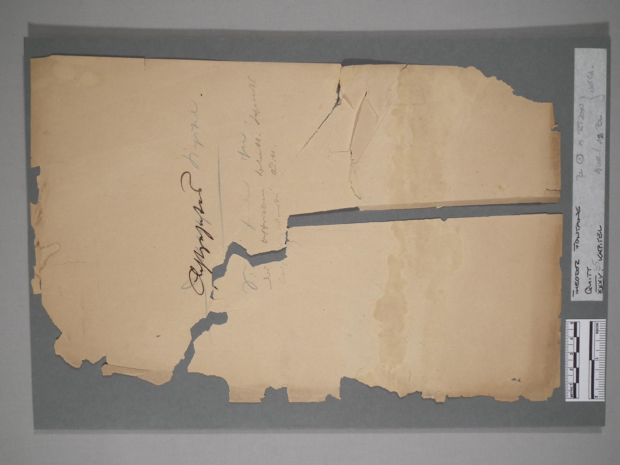 Fontane-Manuskript, Vorzustand.