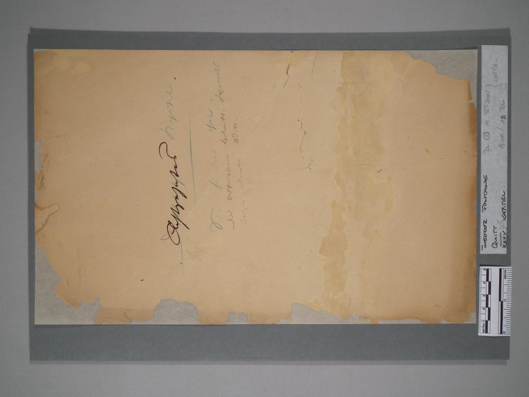 Fontane-Manuskript, Nachzustand.